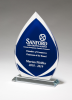 Flame Series Clear Glass Award with Blue Center and Frosted Accents Glass Awards