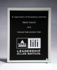 Glass Plaque with Black Center and Mirror Border Square Rectangle Awards
