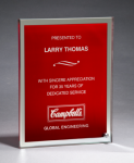 Glass Plaque with Red Center and Mirror Border Glass Plaques